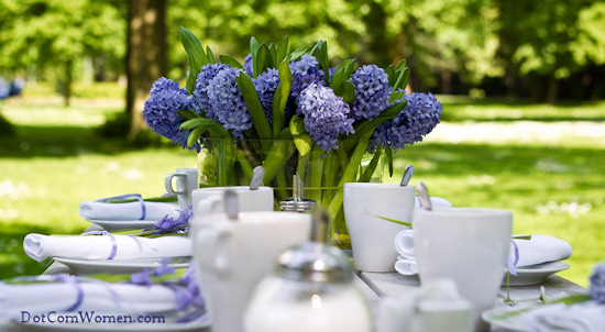 Blue And White Garden Party Table Setting