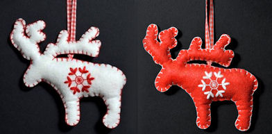 Reindeer Felt Ornaments in White and Red