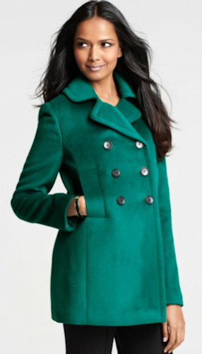 Ann Taylor Pea Coat in Verdigris Teal