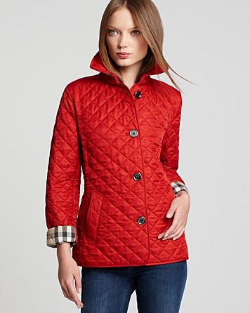 Burberry Brit Copford Quilted Jacket in Military Red