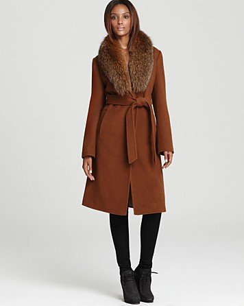 Ellen Tracy Belted Wool Maxi Coat with Fur Trim