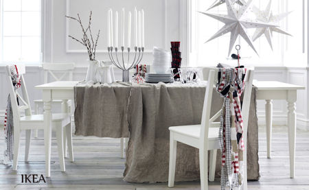 White and Silver Christmas Table Decoration