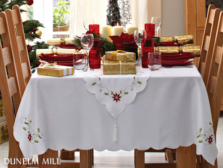 Simple White , Elegant Poinsettia Table Setting for Christmas