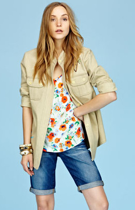 Summer 2013 Trends Cargo Jacket, 60s Floral Top and Denim Bermuda Shorts